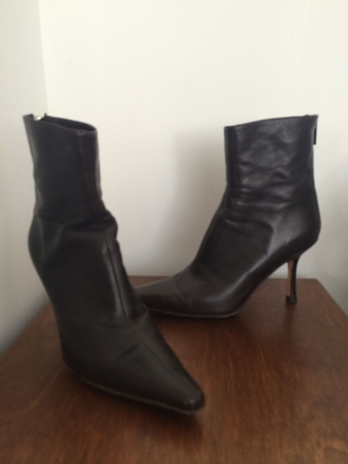 Dark Chocolate Brown Leather Jimmy Choo Ankle Boots 36