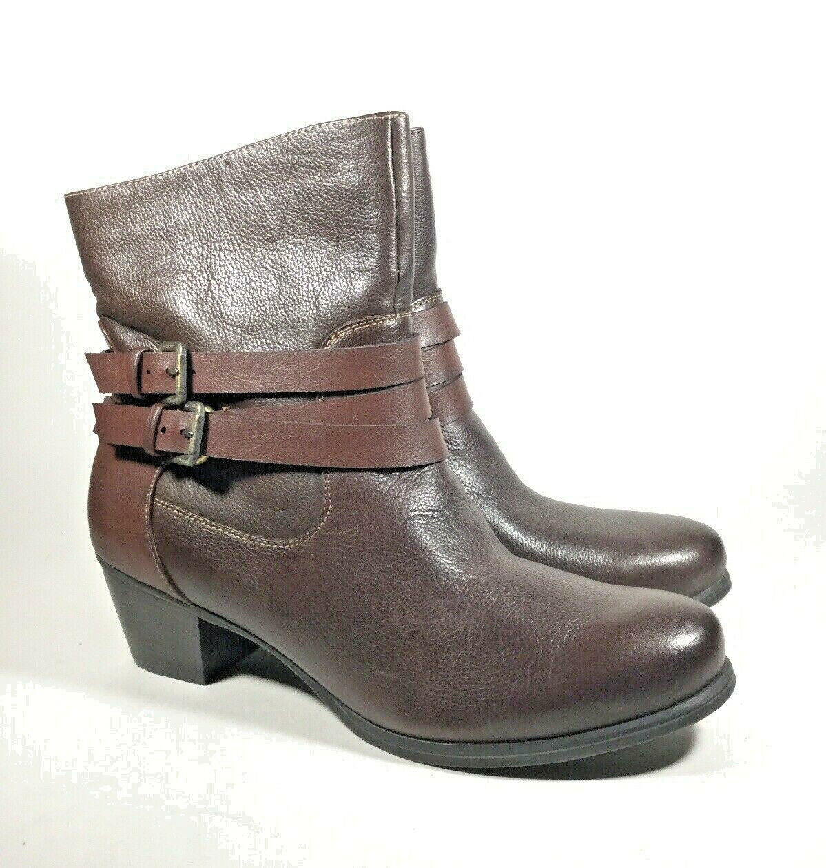 M4757 New Women's Naturalizer Katrina Brown Leather Ankle Bootie US 9 M