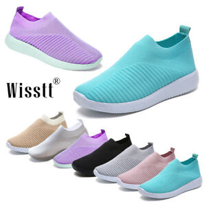 Womens-Casual-Sock-Mesh-Shoes-Trainers-Flat-Slip-On-Comfy-Pumps-Sneakers-Size-UK