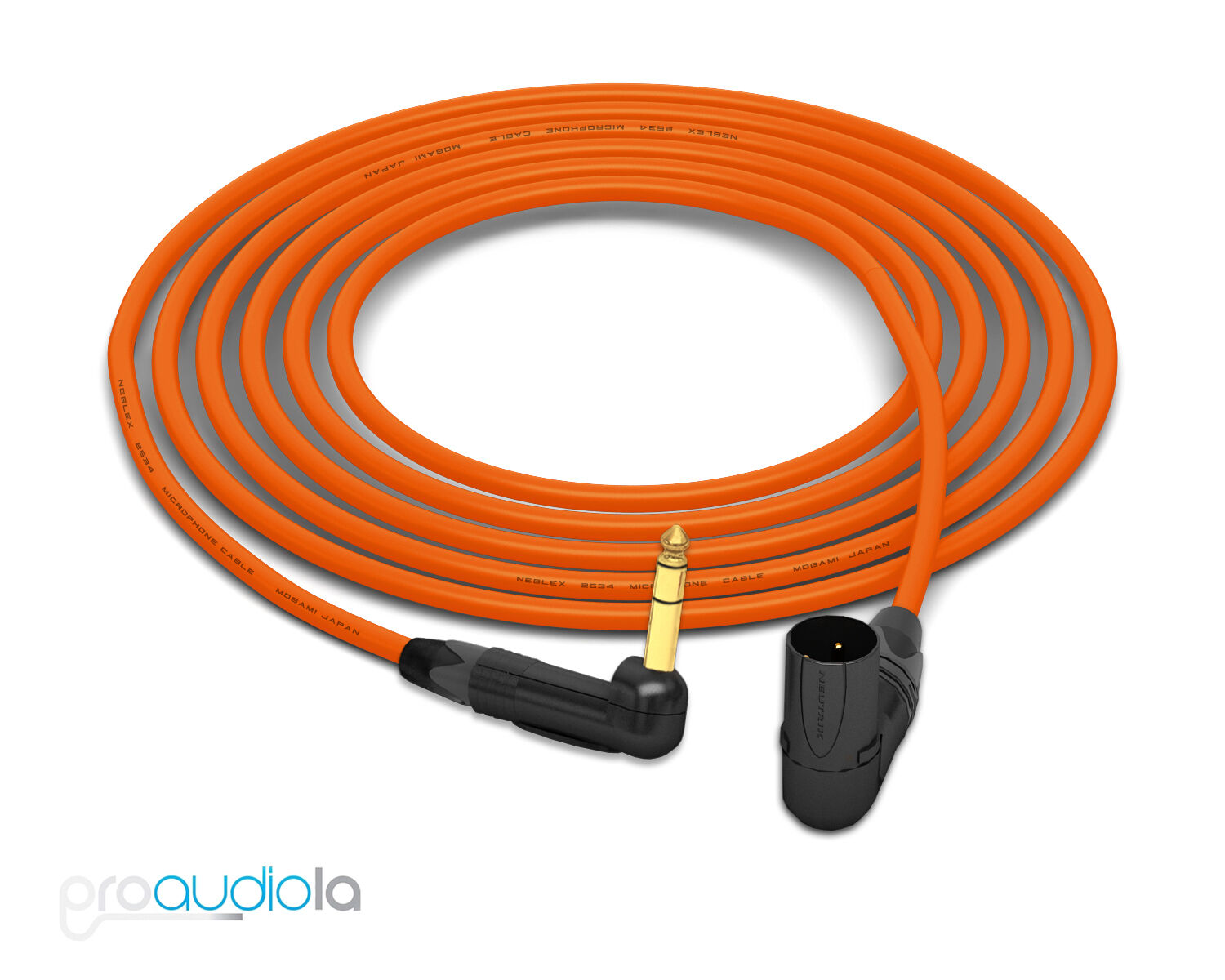 Mogami 2534 Quad Cable   Neutrik Gold 90º TRS to 90º XLR-M   Orange 25 Feet 25'