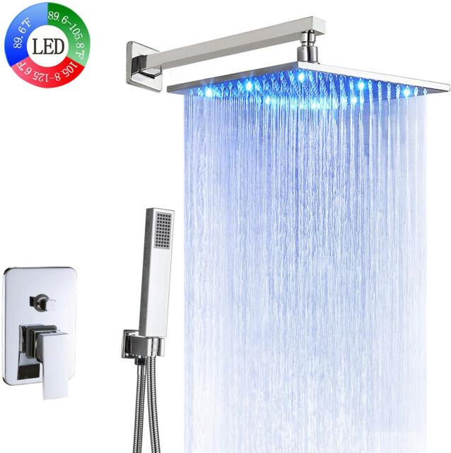Bathroom 2-way Mixer Shower Faucet Set 12-inch LED Light Rainfall Showerhead