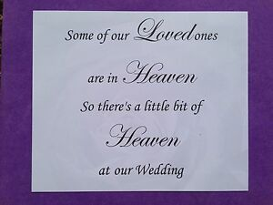 Wedding Remembrance Heaven Lost Loved Ones Signs Missing Someone Ebay
