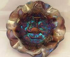 """Vintage Millersburg Carnival Glass/Amethyst  Peacock And Urn Bowl 9.5""""Diameter."""