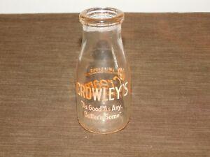 VINTAGE 1955 CROWLEY'S  1/2 HALF PINT MILK BOTTLE