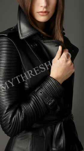 Coat Real Women Leather Black Trench Genuine wAPX4xn6Uq