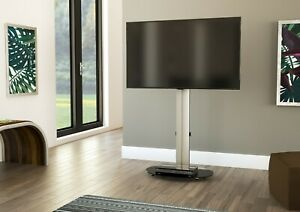 Mahara-TV-Stand-with-Swivel-VESA-Bracket-Silver-with-Black-Glass-up-to-55-034
