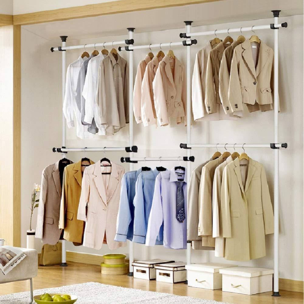 Telescopic Movable Garment Rail Diy Coat Hanger Clothes