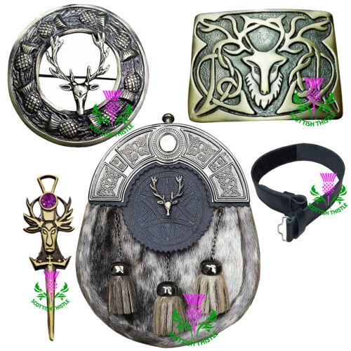 Scottish Kilt Sporrans Stag Head Antique Finish 5 Pcs Set//Kilt Pin Brooch Buckle