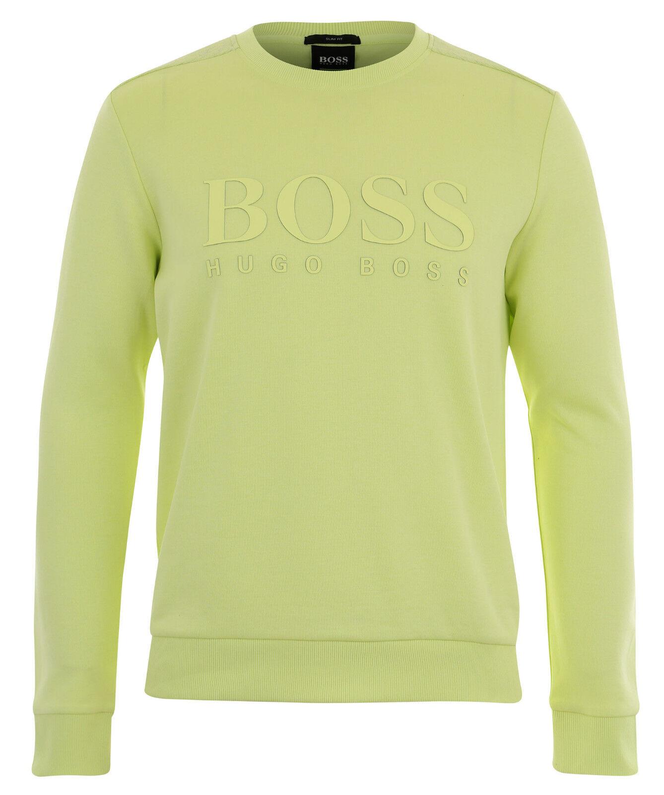 Boss Grün Cotton Salbo Sweater with Logo- Light Pastel Grün