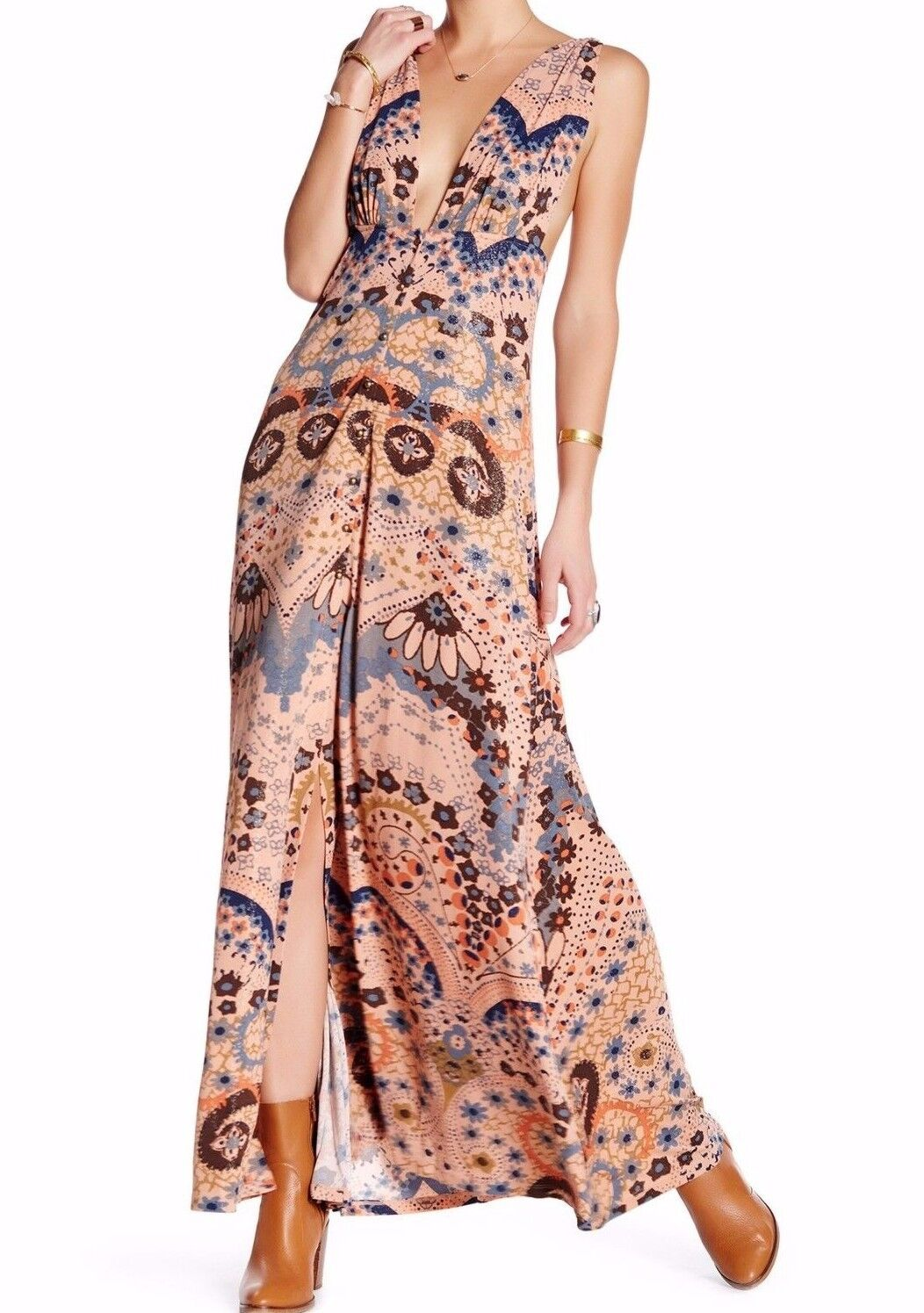 NWT FREE PEOPLE SzM SLEEVELESS PRINT MAXI DRESS Rosa TAUPE COMBO