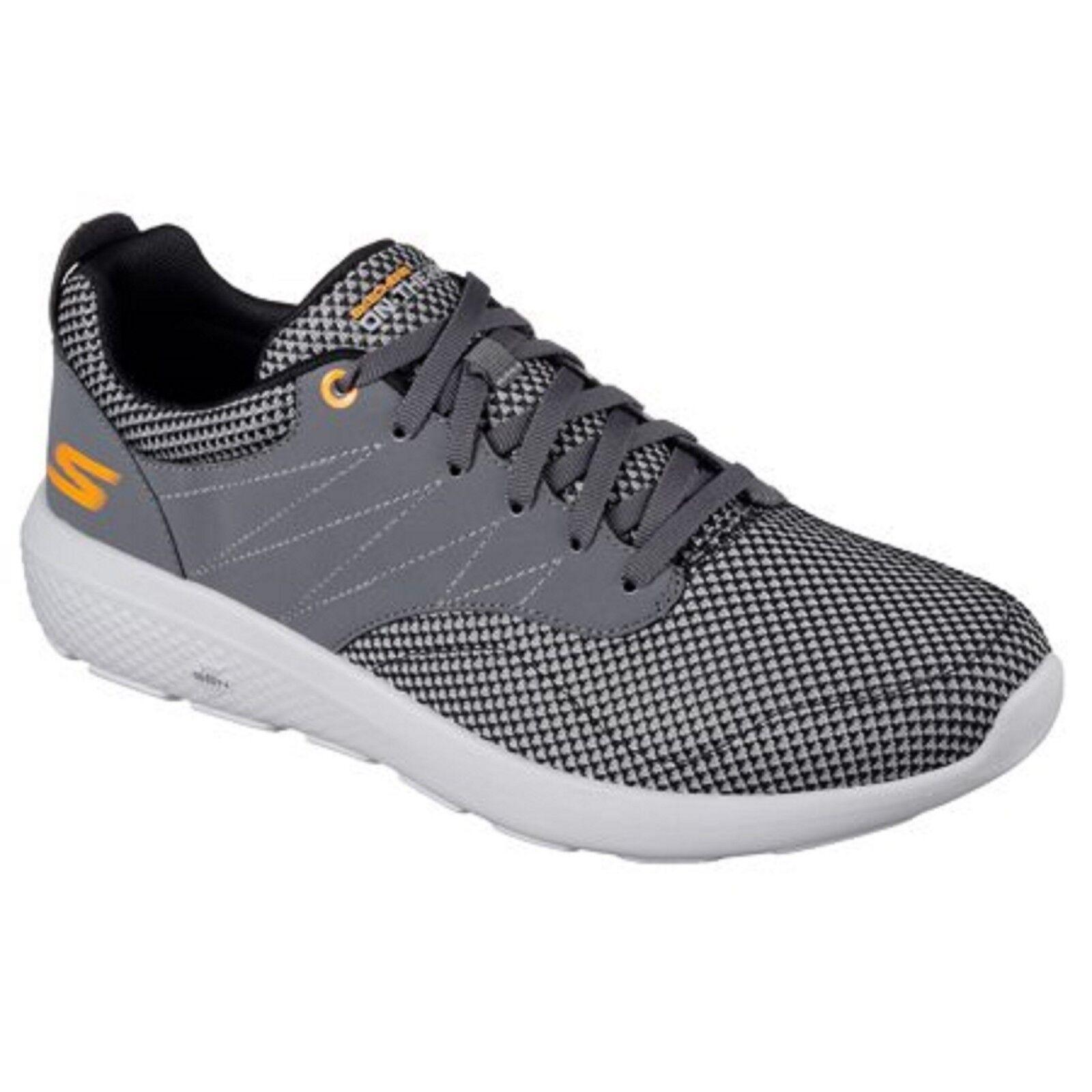 New Men's Skechers 54307 Go Walk City 2 Enzo Sneakers - Gray/Orange Comfortable Wild casual shoes