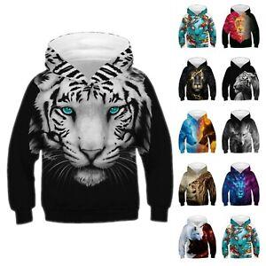 Kids-Boys-Girls-Tiger-Wolf-Lion-Hoodie-Pullover-Sweatshirt-Sweater-T-Shirt-Tops