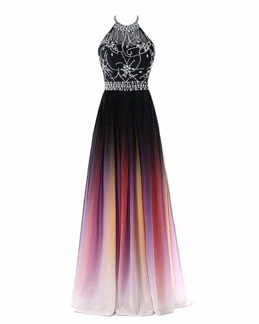 2018 Halter Gradient Chiffon Long Prom Dress Ombre Beaded Evening ...