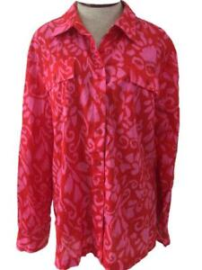 Jones-NY-Signature-blouse-top-size-XL-pink-orange-floral-long-roll-up-sleeve