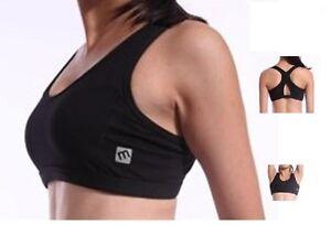 Padded Sports Gym bra crop top Yoga Dance Fitness Ladies Black size S-XXL