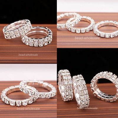 1 Row/2 Rows Shiny Silver Clear Glass Crystal Rhinestone Elastic Ring Jewelry