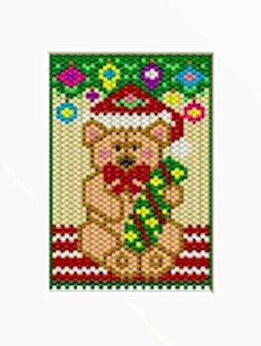 TEDDY UNDER THE CHRISTMAS TREE BEADED BANNER PDF PATTERN ONLY