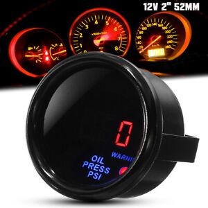 52mm-Auto-LED-Oldruckanzeige-Zusatz-Instrumente-0-140PSI-Schwarz-mit-Sensor