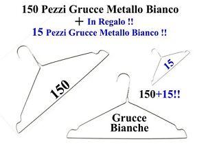 150+15 !Regalo! Grucce Appendiabiti Metallo Bianco Lavanderia Stireria Negozio