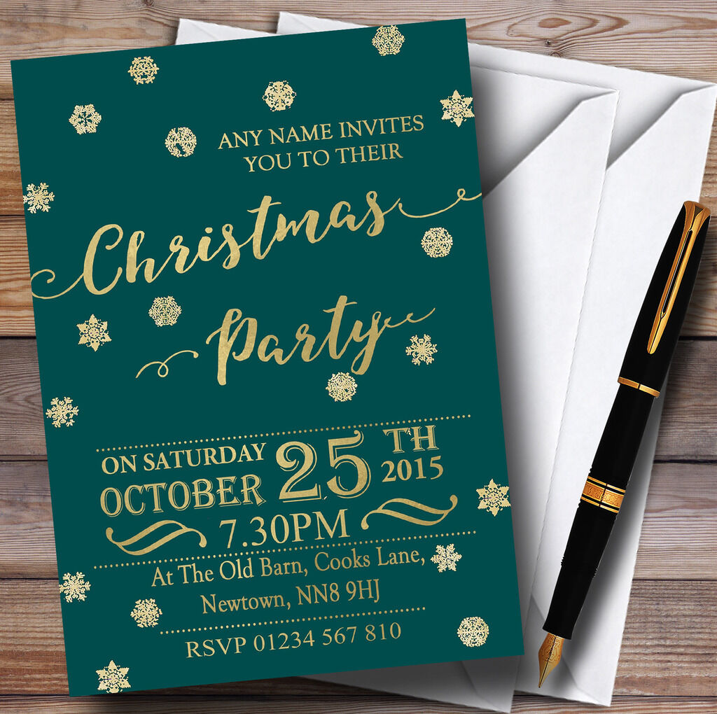 Golden Snowflakes & Deep Teal Personalised Christmas Party Invitations