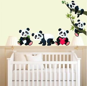 Image is loading CUTE-PANDAS-WALL-ART-STICKERS-5-x-panda-  sc 1 st  eBay & CUTE PANDAS WALL ART STICKERS - 5 x panda images and 3 x great sizes ...