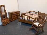Dollhouse Miniature Walnut Bedroom Set With Mirror 1:12 One Inch Scale K50