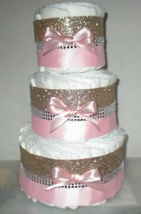 Baby Diaper Cake Polka Dots PINK OR BLUE Shower Gift Centerpiece Boys Girls