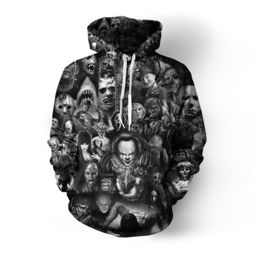 Men//Women Horror Movie Hoodie Cosplay Costume Hooded Jacket Pullover Sweatshirt