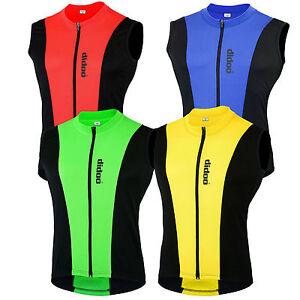 Neuf-Hommes-Cyclisme-Sans-Manche-T-shirts-Course-Haut-Maillots-Fermeture-Eclair