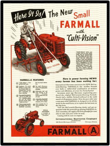 "FARMALL MODEL A CULTI-VISION TRACTOR AD 9/"" x 12/"" Aluminum Sign"