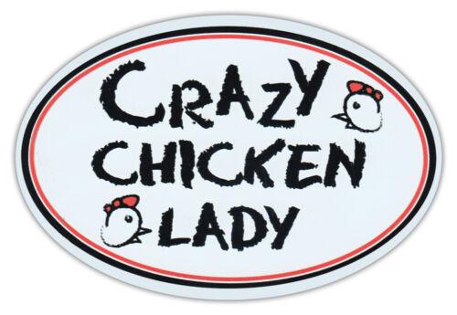 Crazy Huhn Lady Oval Auto Magnet Magnetischer Stoßstangen Aufkleber
