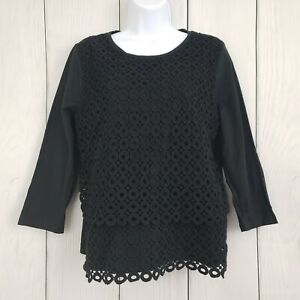 J-CREW-size-Large-Black-3-4-Sleeve-Embroidered-Blouse-Shirt-Top-Layered-Lined
