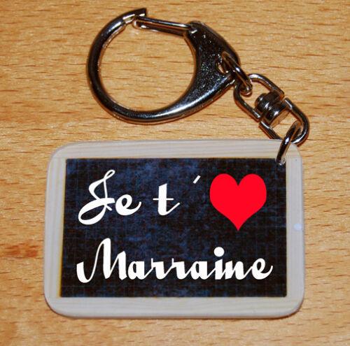 Porte-cles style ardoise d'écolier message «Je t/'aime Marraine»