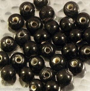 10 perles en verre artisanal environ 8 mm noir brillant 0pqky6Yf-09095414-261981506