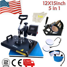 5in1 12x15 Heat Press Machine Swing Away Printing Transfer For T Shirt Mug Cup