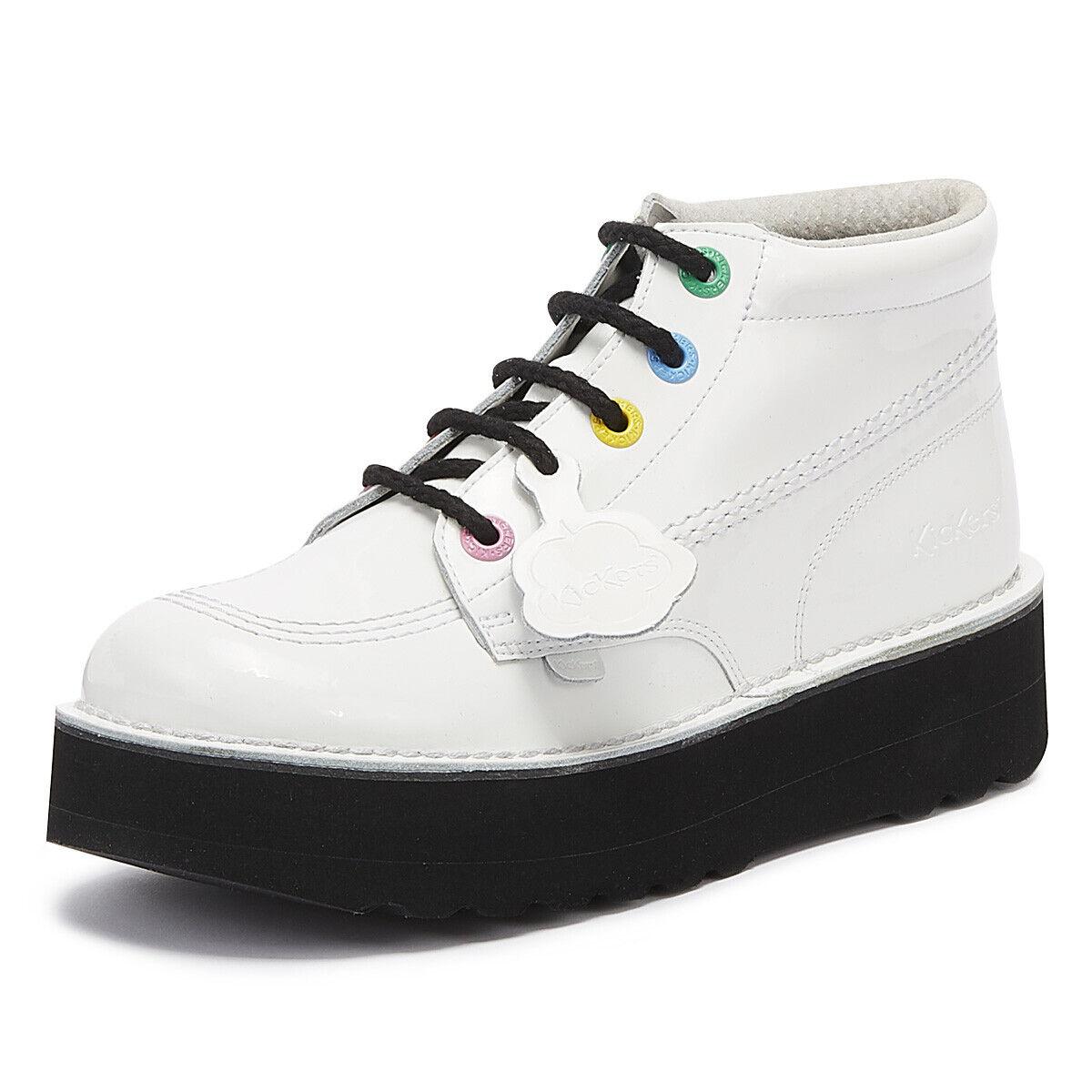 Kickers Kick Hi Pila de cuero para mujer botas blancoo con Cordones de las plataformas señoras
