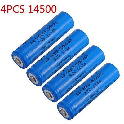 4x 1200mAh 14500 3.7v Li-ion Rechargeable Battery For Flashlight Torch Headlamp