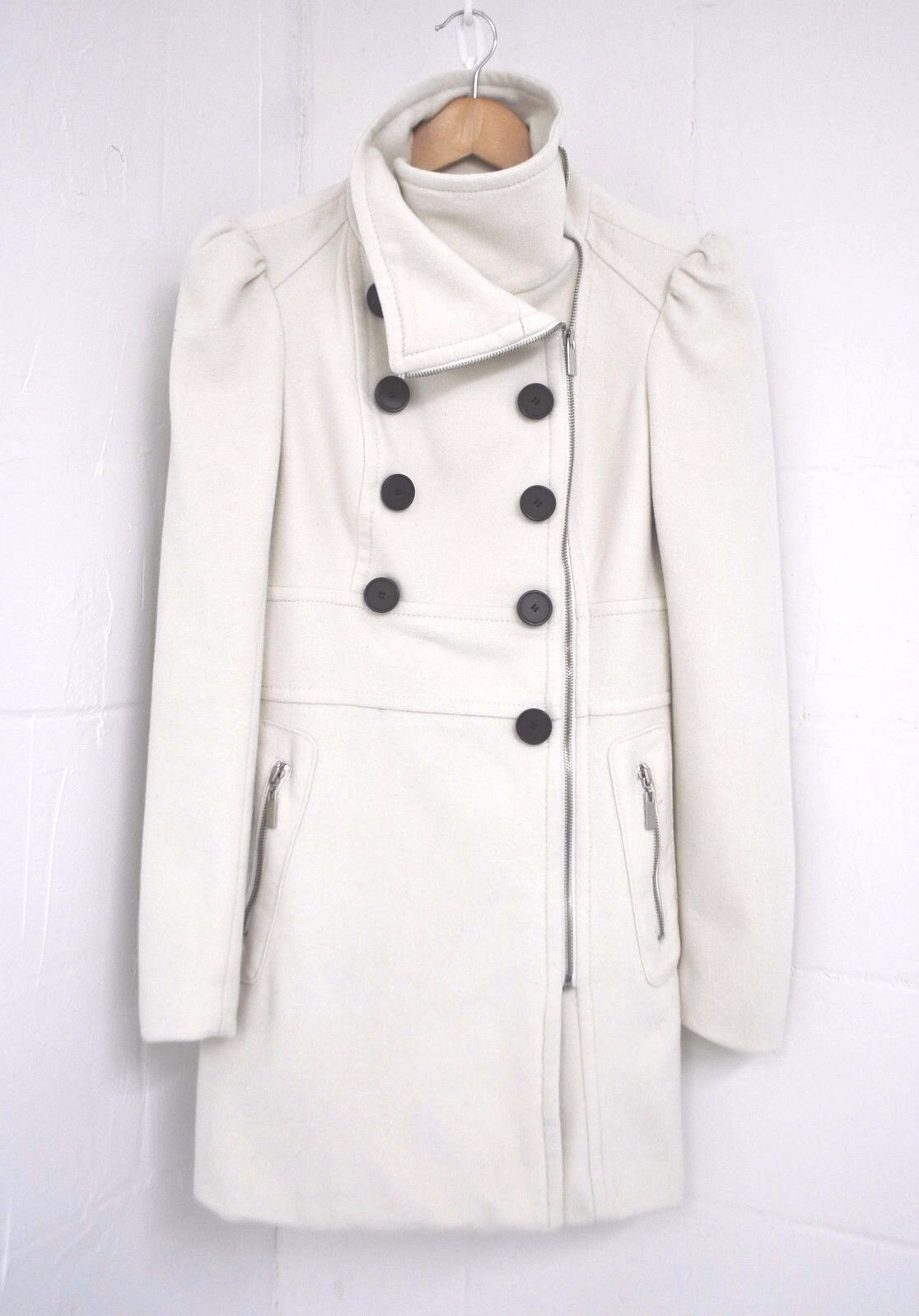BEBE  260 Wool Shawl Funnel Collar Buttoned Winter Trench Coat Off White S