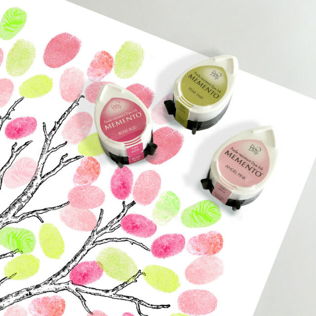 three fingerprint guest book ink pads for weddings baby showers in green & pink