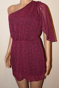 VICKY MARTIN pink leopard one shoulder mini dress BNWT 8 10 12 14 16 RRP £155