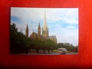 SACRED-HEART-CATHEDRAL-AND-TRAM-MINT-POSTCARD-BENDIGO-VIC