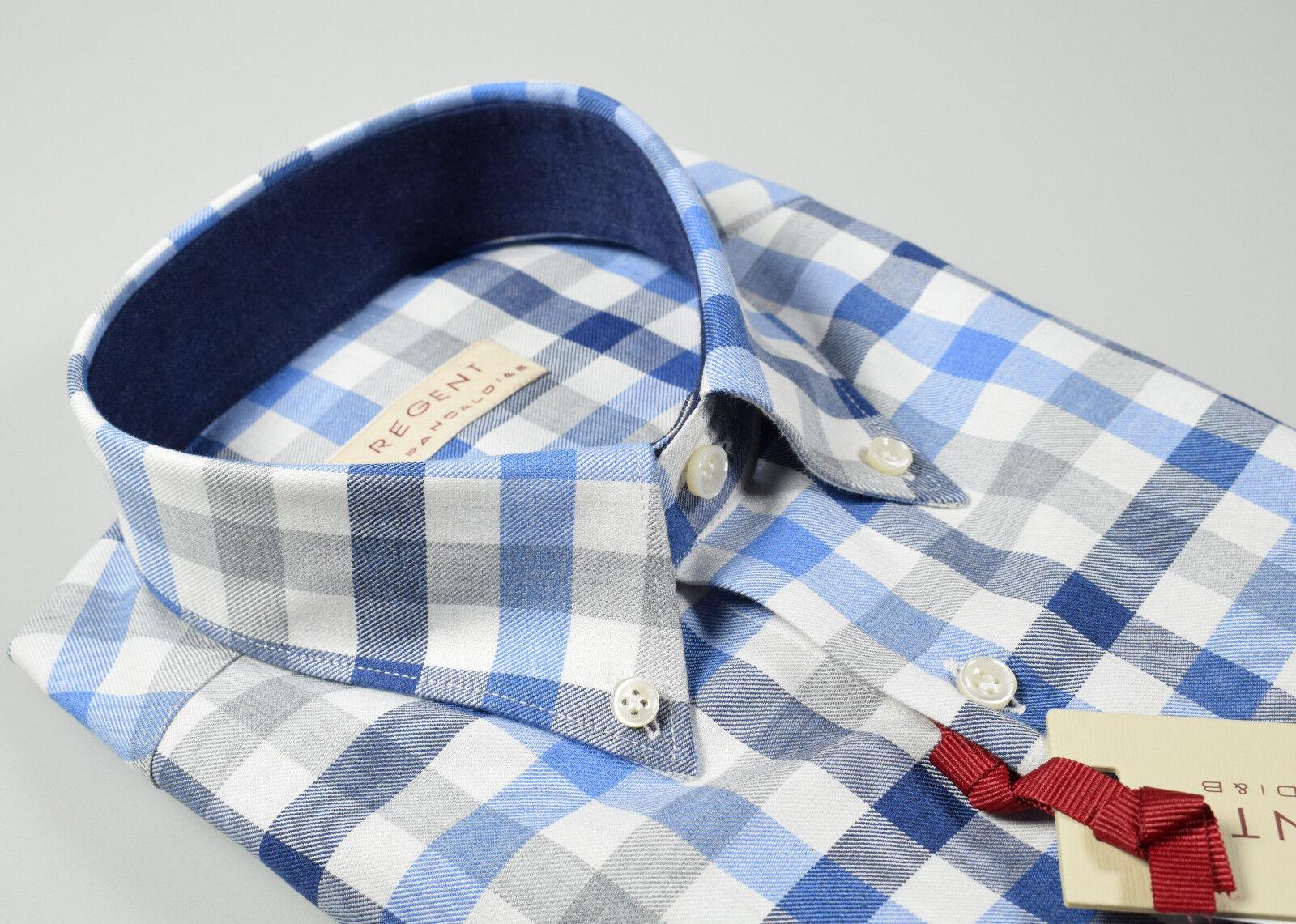 Camicia Pancaldi a quadri flanella rasata interno collo e polso in contrasto blu