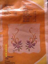 """WonderArt """"Orchids"""" Dresser Scarf Stamped Linen Size 16 1/2"""" x 42"""""""