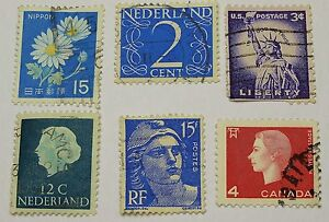 postage stamps mixed bulk lot of 6 different stamps different