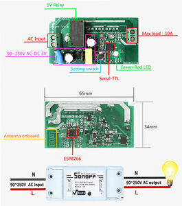 Details about Sonoff-ITEAD WiFi Wireless Smart Switch Module Socket for  Home DIY Android Apple