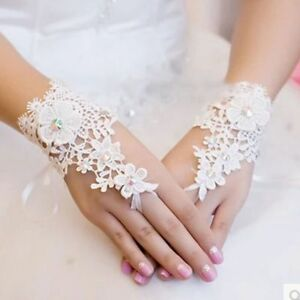 White Crystal Guantes Bride Bridal Accessories Lace Fingerless Wedding Gloves