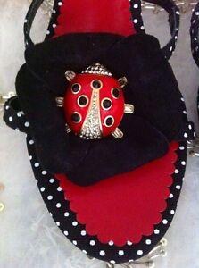 Ramon Slipper Black Nuevo Dot Ladybug Swarovski Tenza Pumps 7axf6qdH