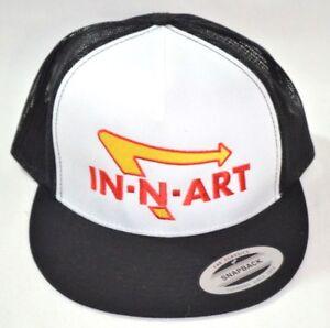 237601114692e IN-N-ART Snapback Trucker Hat Black Red   White
