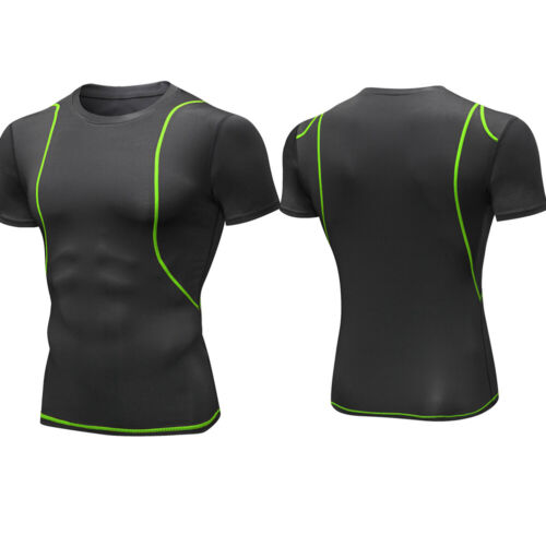 Men/'s Compression Base Layer Running Gym Round Neck Top Moisture Wicking Dri fit