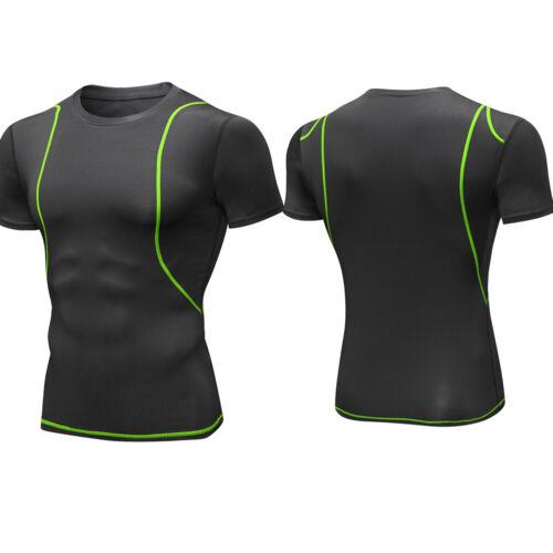 Men/'s Compression Base Layer Running Gym Round Neck Top Moisture Wicking Dri fit